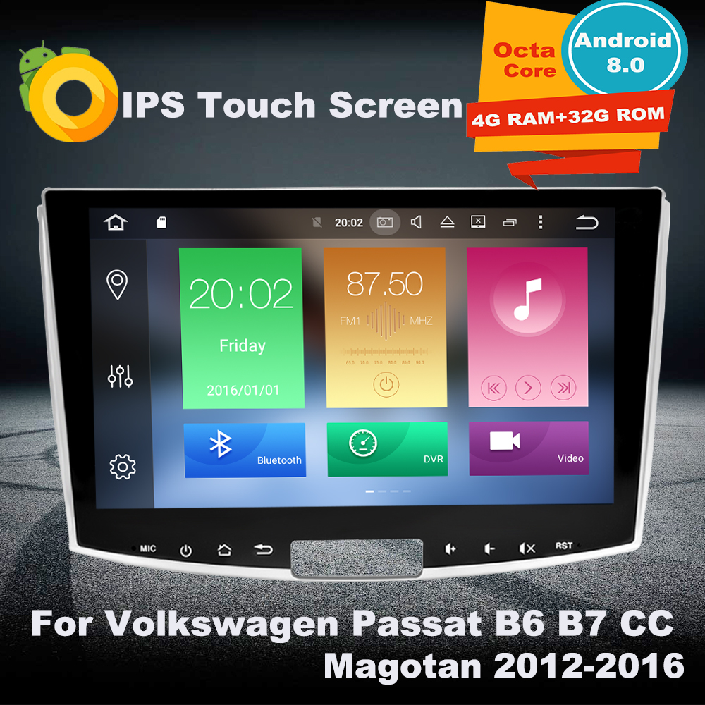 4G RAM Android 8.0 Car GPS Multimedia Player For Volkswagen Passat B6 B7 CC Magotan 2012-2016 Auto radio Navigation favourite подвесная люстра favourite fara 1721 8pc