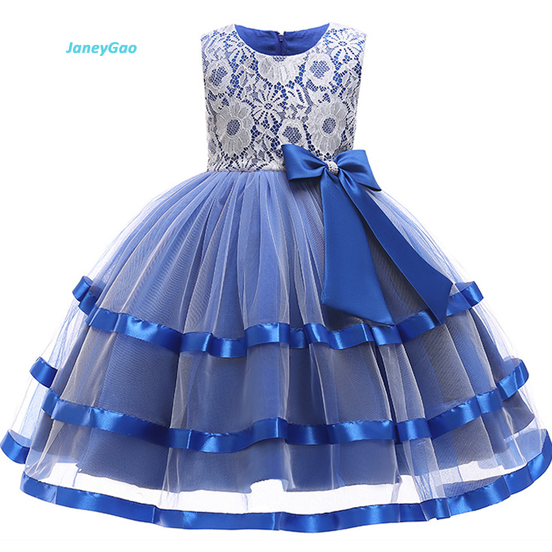 JaneyGao Flower Girl Dresses 2018 Autumn Elegant Fashion Girls Dress Children Dress Princess With Lace Kids Formal Gown In Stock