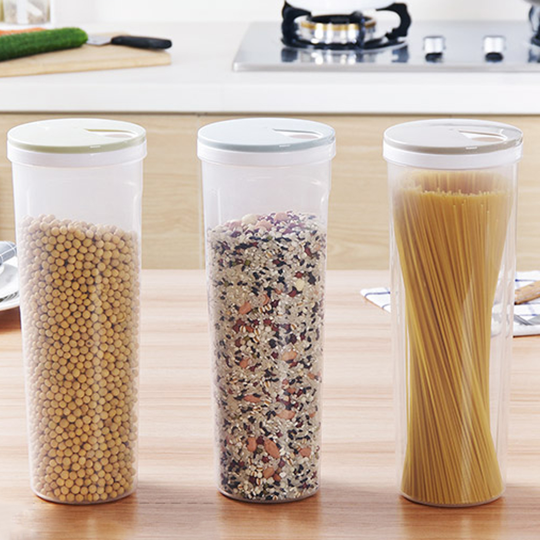New Kitchen Accessaries Utensils Control Hole Noodle Bean Storage Holder Cereal Grain Box Food Container