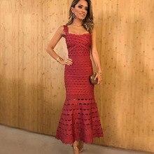 Seamyla חדש אופנה תחבושת שמלת נשים סקסי ריון סלבריטאים המפלגה שמלות Bodycon בת ים מסלול ארוך שמלת הולו מתוך 2019
