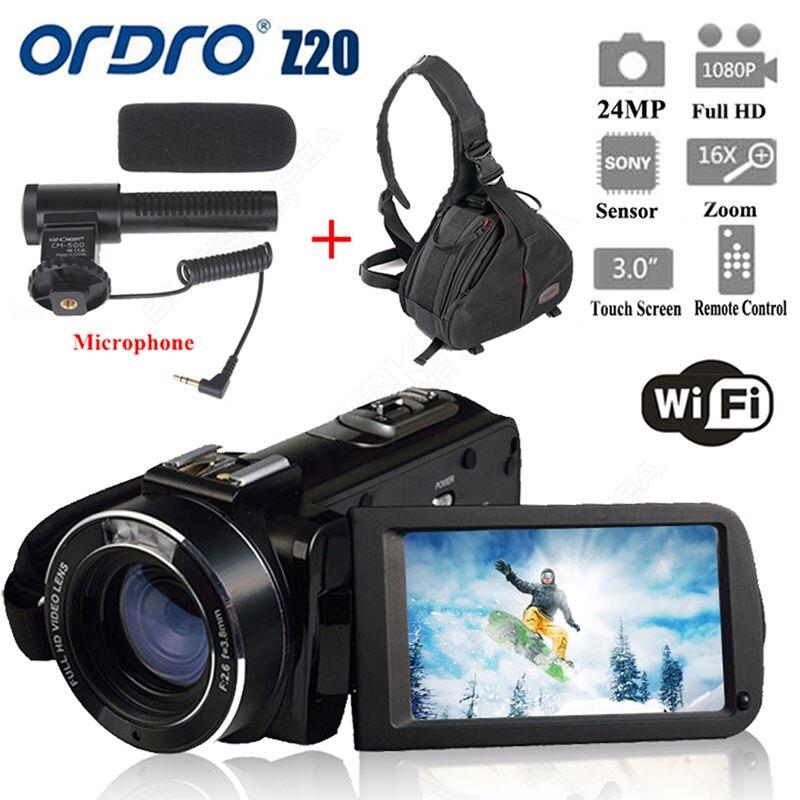 ORDRO HDV-Z20 1080 P WIFI caméra numérique caméscope + sac photo étanche camara vidéo numérique