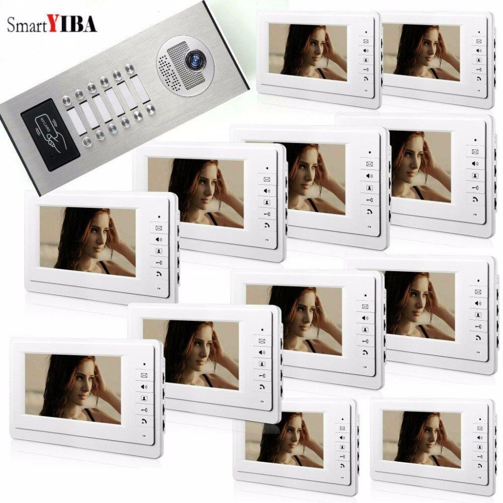 SmartYIBA 3 para 12 Multi Apartamento Edifício Interfone Vídeo Porteiro Porta Sistema de Telefone Video Da Porta com Câmera IR 1000TVL RFID sino