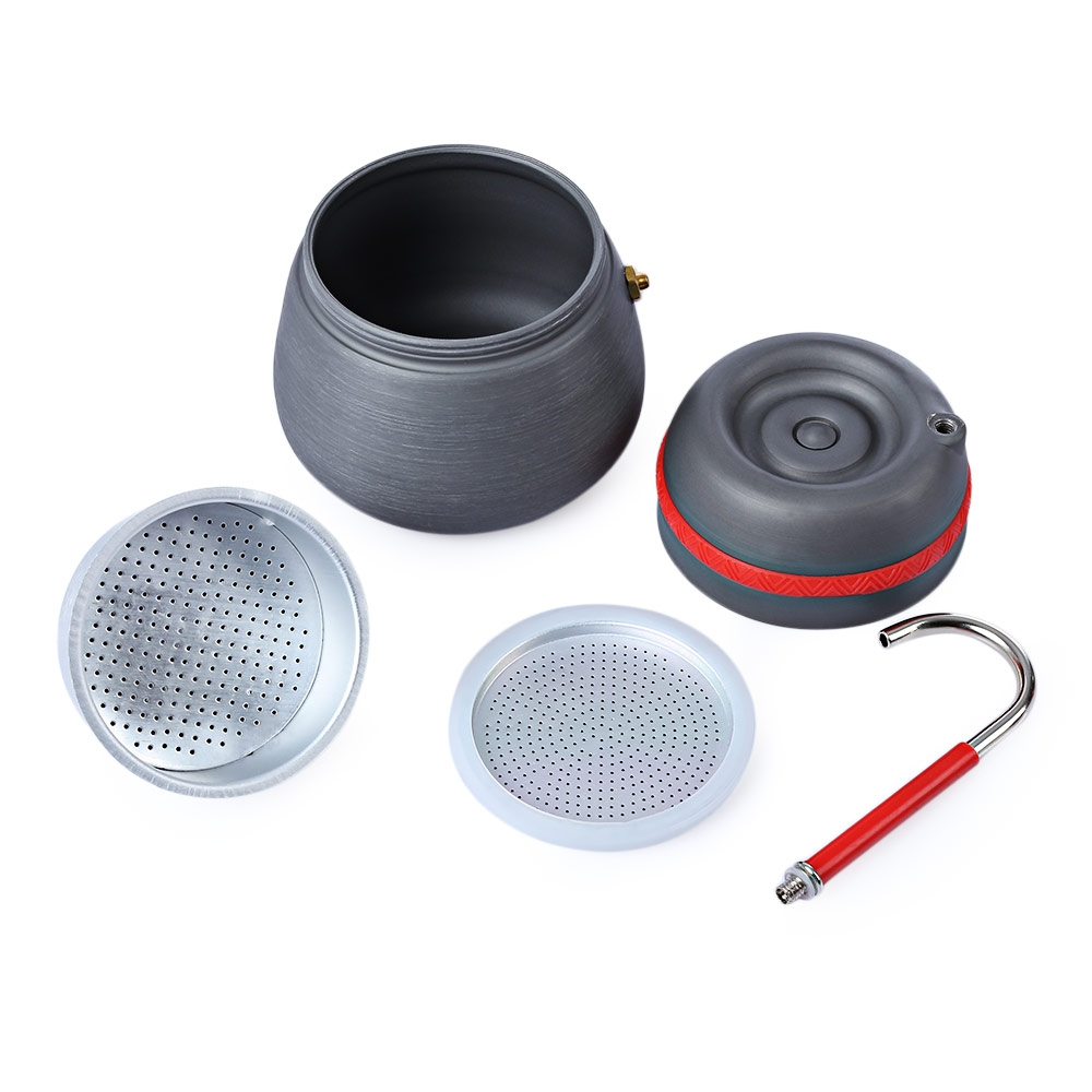 Image 2 - 350ml outdoor camping tableware picnic coffee pot with cups can  be used to burn the stove aluminum alloy coffee machine cocoaOutdoor  Tablewares