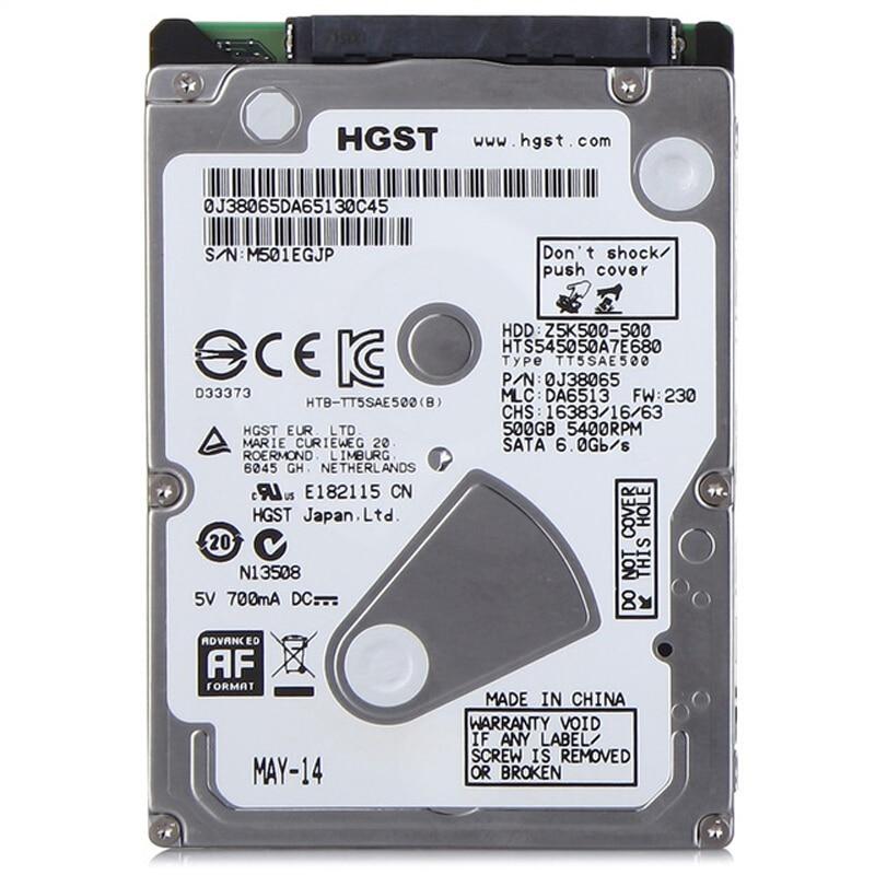 "HGST 2.5/"" SATA 500 GB 5400 RPM HDD Laptop Hard Drive HTS545050A7E680"