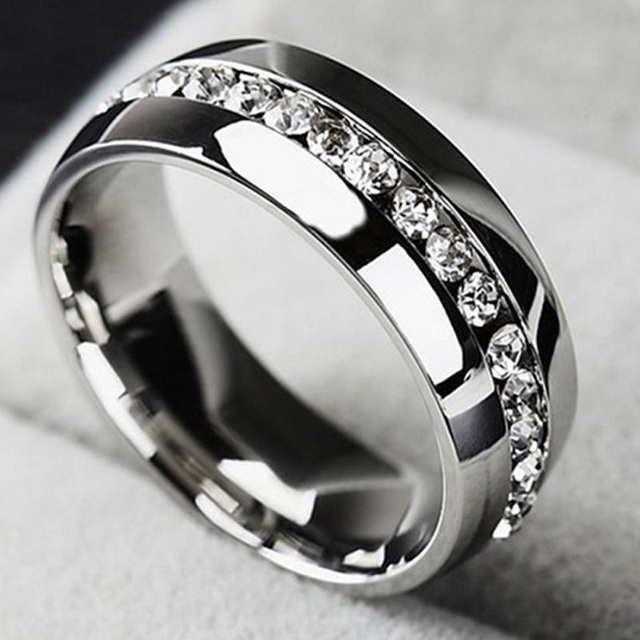 Single Row Zircon CZ Ring Stainless Steel Finger Rings Women Jewelry Wholesale L