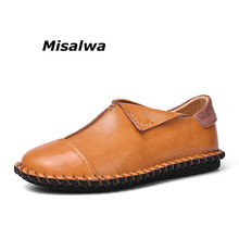 Misalwa 2019 Mens Casual Shoes Hot Sale Soft Leather Male Loafers Flats Moccasins Slip On Comfort Working Leisure Driving Shoes