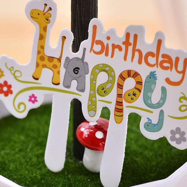 30Pcs Set Love Cartoon Happy Birthday Cake Toppers Animals Print Cupcake Wrappers Kids Party