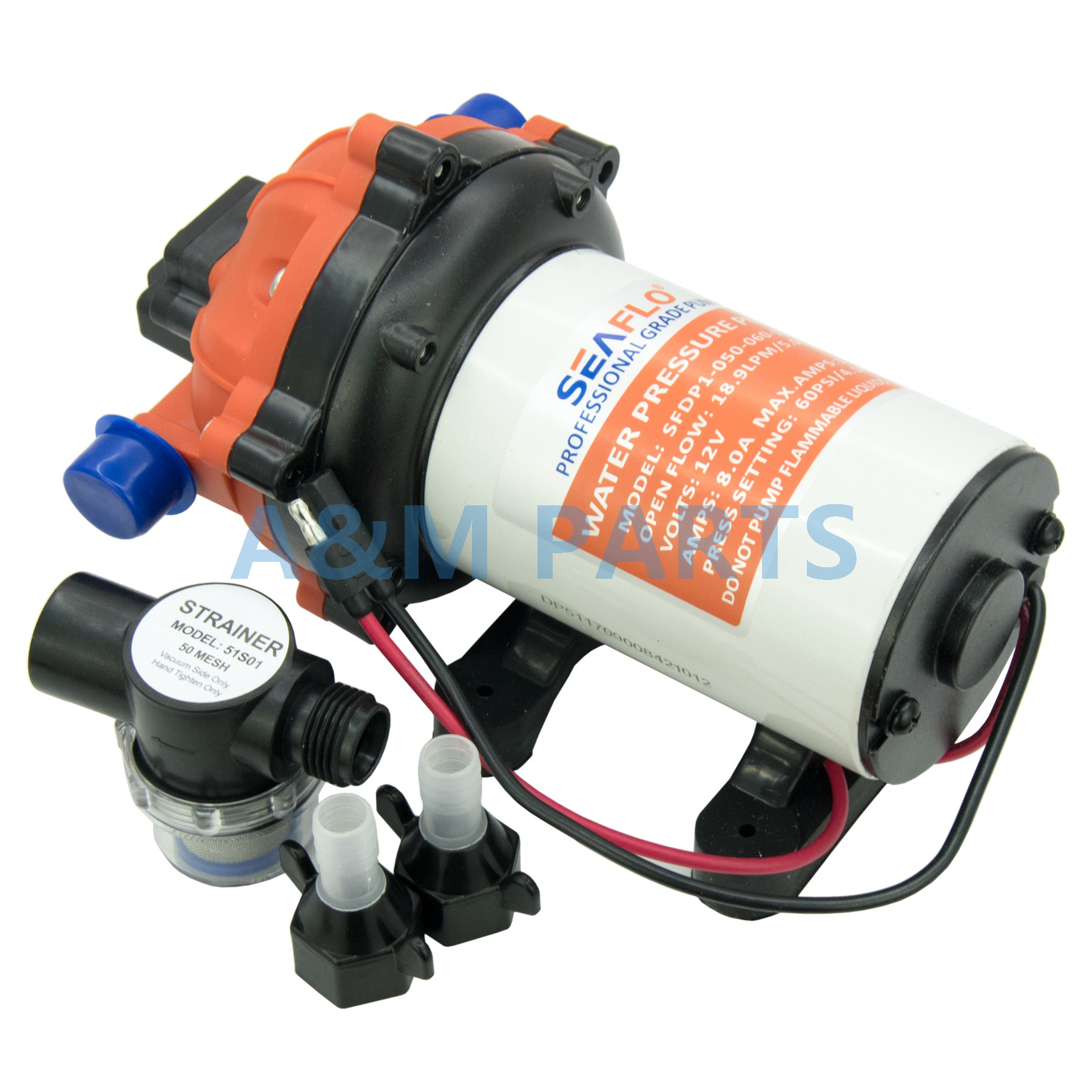 12V 60 PSI 5.0 GPM Self Priming Diaphragm Pump Boat Marine RV Water Pump