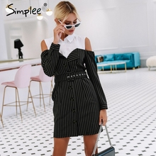 Elegant two piece stripe women dress