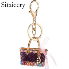 Sitaicery Keychain Ribbon Bow Gold Metal Key Ring Bag Charm Auto Keys Pendant Crystal Keychain Gift For Women Ladies Wholesale(China)