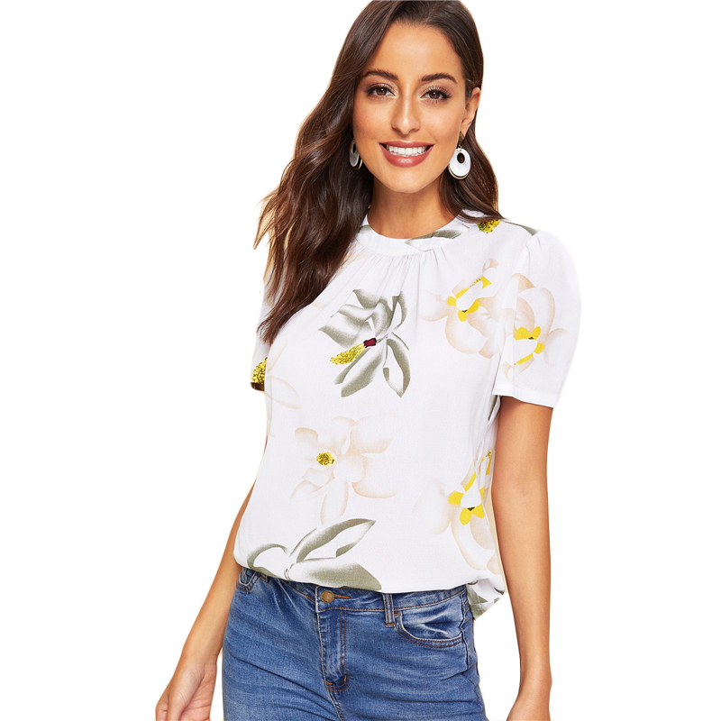 Back Pleated Floral Short Puff Sleeve Summer Blouse 11