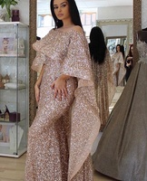 Luxury Rose Gold Sequin Mermaid Prom Dresses With Cape Sequined Bling Bling Dubai Middle East Women Evening Formal Dresses