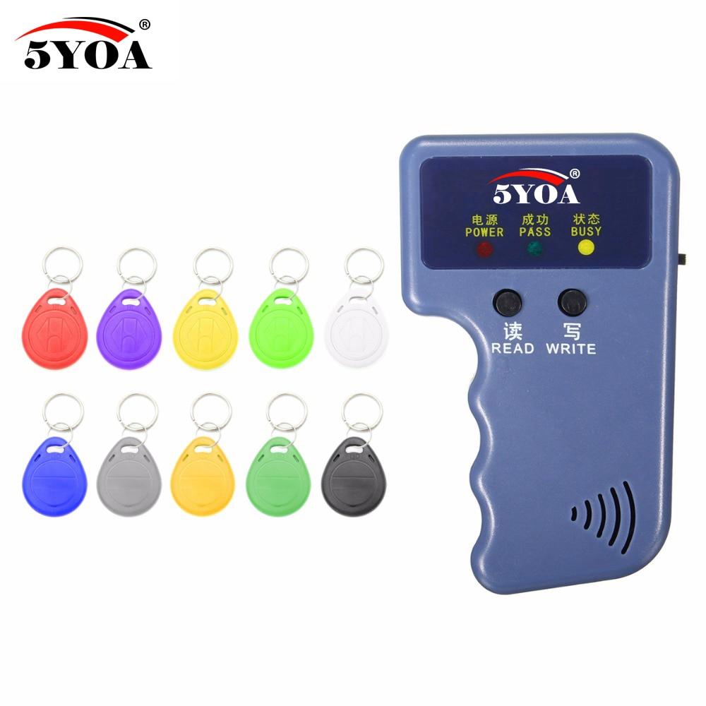 5YOA RFID Lecteur de Carte Vidéo Programmeur 125 KHz EM4100 Copieur Writer Duplicateur + EM4305 T5577 Réinscriptible ID Télécommandes Tags Carte