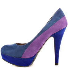 Colorful Purple and Blue Slip on Classical Style High Heels Pumps Women Made to order Plus