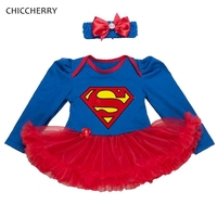 Blue Superman Baby Girl Clothes Print Infant Lace Tutu Dress Headband Set Toddler Birthday Outfits Robe