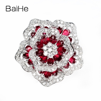 BAIHE Solid 14K White Gold H/SI 0.70ct Natural Diamond 2.5ct Rubis Women Trendy Fine Jewelry Delicate flower ruby diamond Ring 1