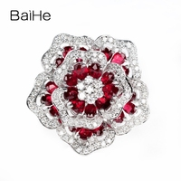 BAIHE Solid 14K White Gold Certified H/SI SI3 0.70ct 100% Natural Diamonds & About 2.5ct Rubis Women Trendy Fine Jewelry Ring