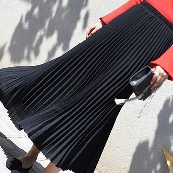 Autumn Fashion Long Pleated Skirt Womens European Style Solid Elegant Midi Elastic Waist Skirt Droppship 10 Colors Freeship 2
