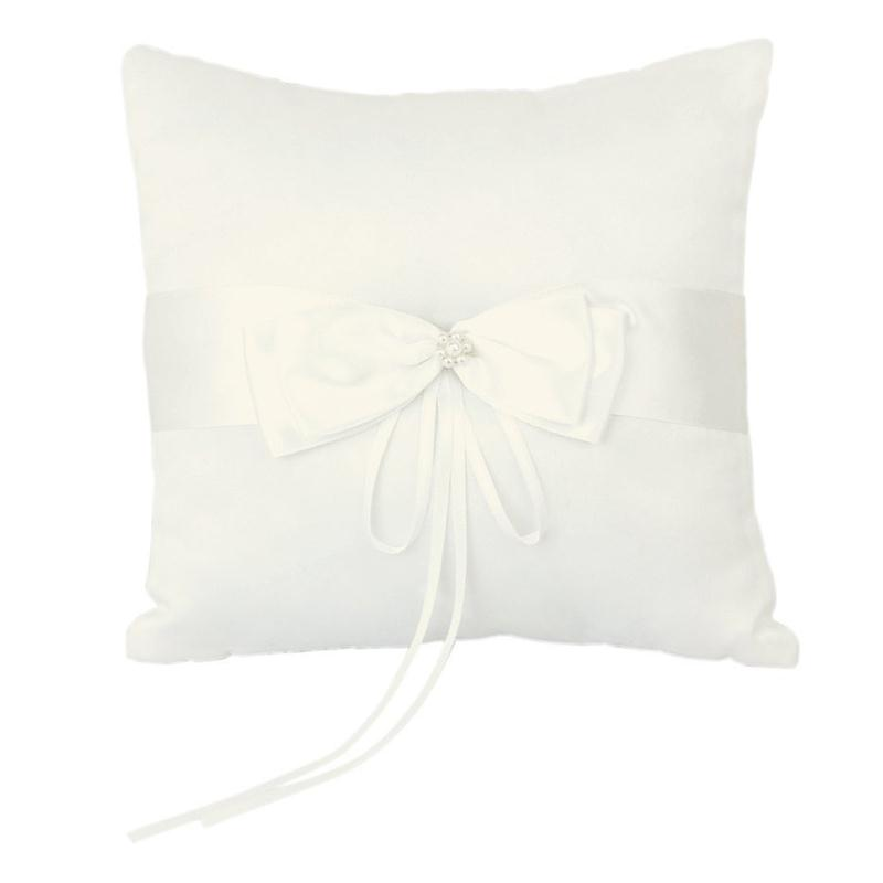 new 1010cm wedding ceremony ring bearer pillow cushion with satin double bowknot flower faux - Cheap Wedding Ring