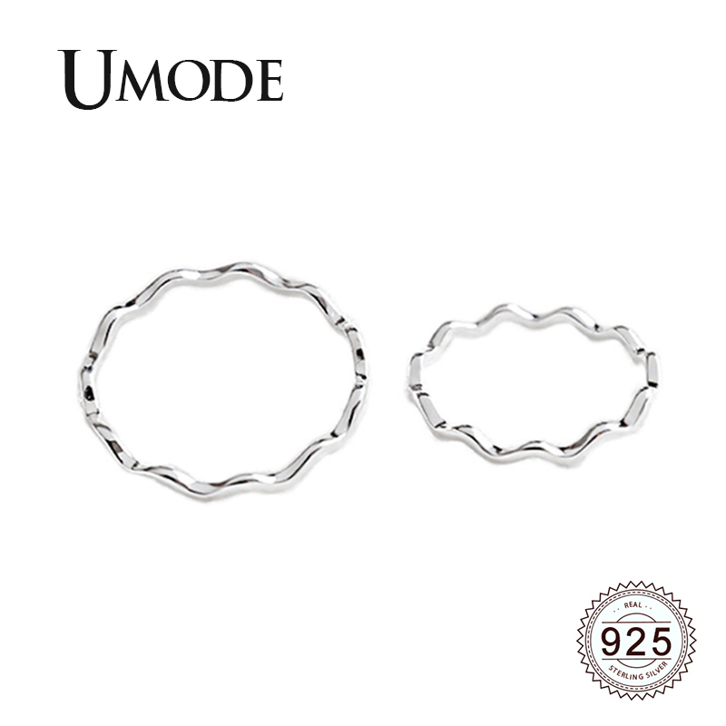 UMODE 2019 New 925 Sterling Silver Simple Plain Rings For Women Twisted Wave Design 925 Jewelry Party Wedding Ring Bands ALR0725