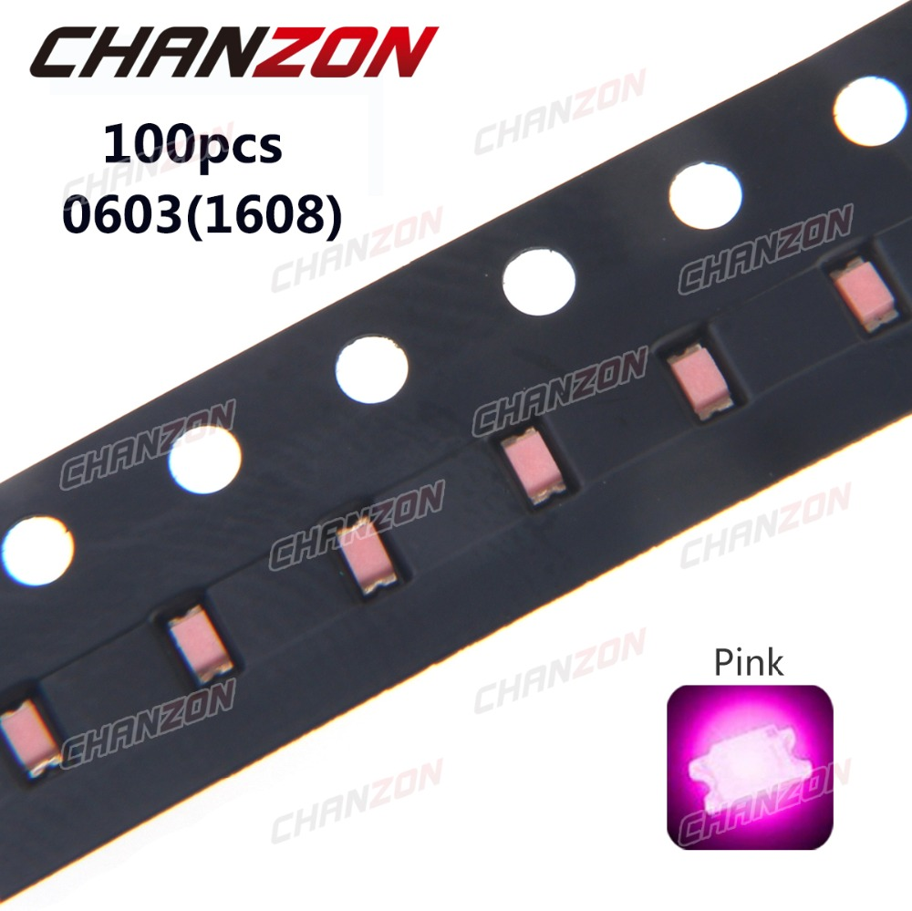 100pcs <font><b>SMD</b></font> Chip 0603 (<font><b>1608</b></font>) <font><b>LED</b></font> Diode Pink SMT Bead 20mA Bulb Chip Light Emitting Diode <font><b>LED</b></font> Lamp Electronics Components for PCB image