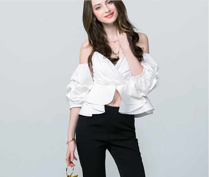 Sexy Sleeves Low Shirts neck Ruffled Waist xxxl High Women V S Blue Newest Strapless Jacket Cut white Black Puff White blue 7x8Eywf