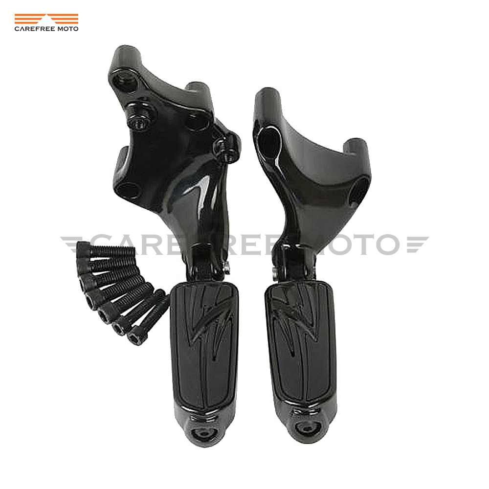 Black Lightning Motorcycle Foot Pegs Mounting Brackets Moto Foot Rest Case For Harley 883 1200 XL Sporster 2014 2015 2016