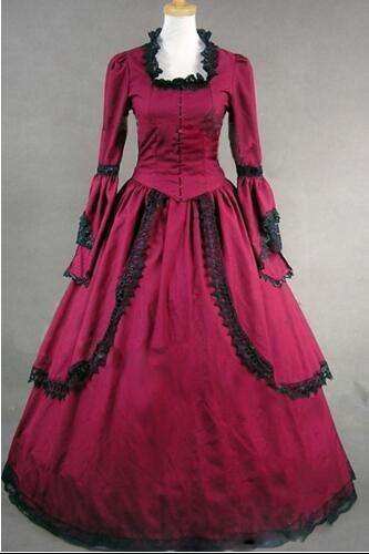Livraison gratuite peut être personnalisé 2015 offre spéciale à manches longues rouge/bleu dentelle Flare manches gothique victorien Lolita robes livraison directe