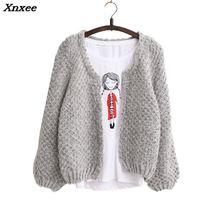 2018 Autumn winter New Women Korean short Cardigan Crochet Casual Oversized Knitted Coat bat sleeve Thick sweater Xnxee