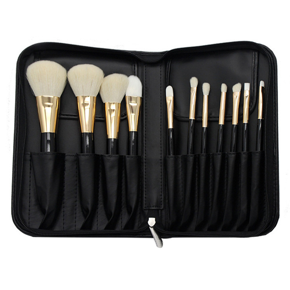 11Pcs Makeup Brush Set Pro Goat Hair Face Eye Shadow Eyeliner Foundation Blush Lip Brushes Powder Cosmetics Blending Brush Bag fashion wavy silver gray wig body wave synthetic lace front wig glueless long natural gray heat resistant wigs for black women