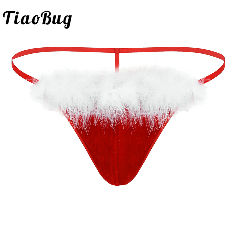 <font><b>TiaoBug</b></font> Men Low Rise G-String Soft Velvet Penis Bulge Pouch Thong Hot Sexy Male Underwear Red Christmas Costume <font><b>Homme</b></font> Underpants image