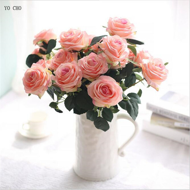 YO CHO 10 Heads Large Rose Artificial Flowers Plants DIY Bridal Bouquet Wall Party Home Wedding