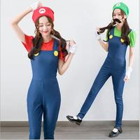 New Sexy and Cute Female Halloween Masquerade Cosplay Super Mario Costume High Quality Green/Red Jumpsuits Conjoined Clothes