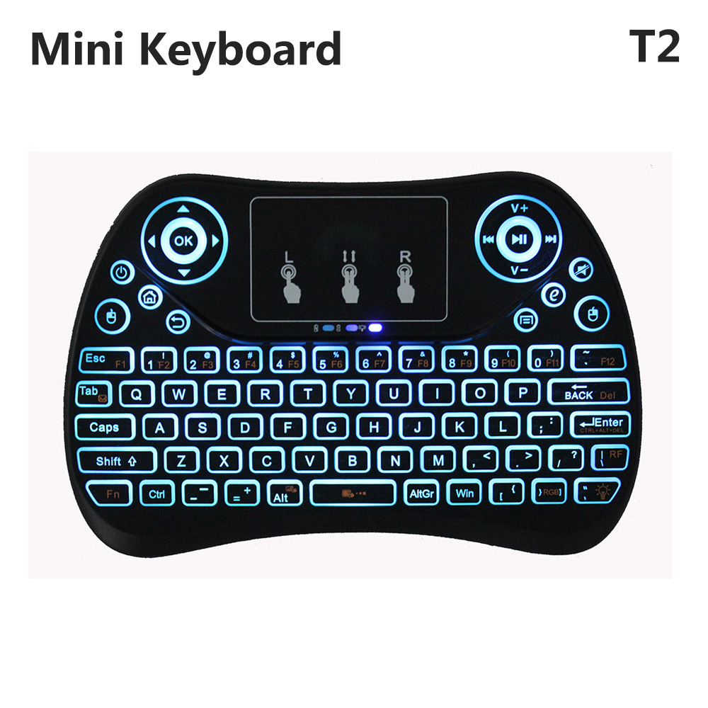 T2 Mini Wireless Keyboard 7 Color Backlight Bluetooth Remote Control Fly Air Mouse Touchpad PK i8 MX3 for Android TV Box 2 4g mini wireless keyboard touchpad numeric keyboard charging switch screen for desktop laptop table