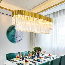 Modern LED Crystal Pendant Light Hanging Lamp fixtures living room Dining Room Rectangle Straight