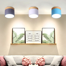 Thrisdar LED 9W Macaron Iron Wooden Surface Mount Downlight Kitchen Bedroom Aisle Corridor