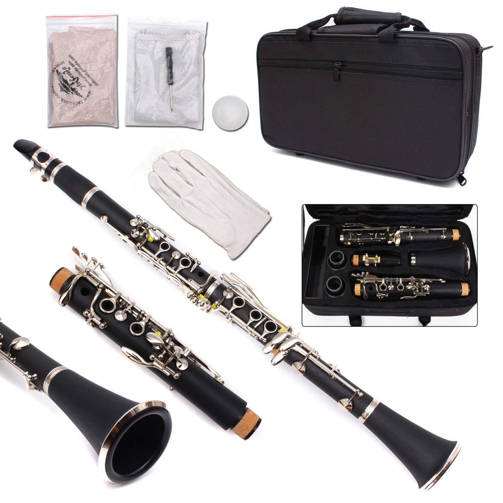 New Professional Clarinet Ebonite Wood Nickel Plated Key Bb Key 17 key Case #7 silver nickel plated double french horn f bb 4 keys with case