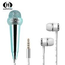 Para iPhone Android todos los teléfonos inteligentes portátil Mini micrófono estéreo Karaoke registro de sonido enchufe de 3,5mm