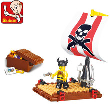 Sluban Pirata Navio Do Tesouro Do Pirata Brinquedo Montagem Building Blocks Define Figura de Ação 3D Construção de Brinquedos para Crianças