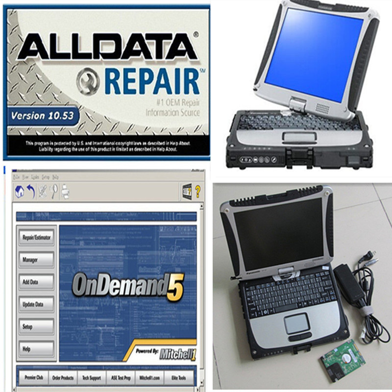 New arrival auto repair software 10.53 alldata mitchell on demand in 1tb hdd installed cf-19 for Panasonic laptop ready to use