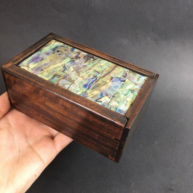 Collection fleur chinoise poire bois incrusté de coquille colorée et ceinture mécanisme boîte à bijoux Antique bois sculpture boîte de rangement
