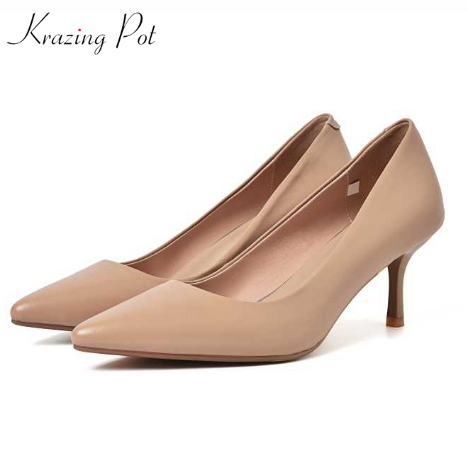 Krazing pot 2018 Spring Summer genuine leather solid hollywood thin high heels pointed toe shallow nude office lady pumps L02 krazing pot genuine leather original design thick med heels shallow women nude concise pumps pointed toe solid brand shoes l11