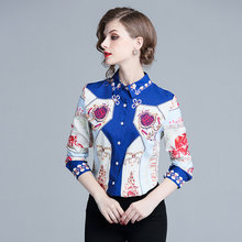d1ce1dc6307c85 2019 Silk Blouse Women Pullovers Shirt Printed Vintage Design Long Sleeves  Office Work Top Elegant Style New bow tie up neck