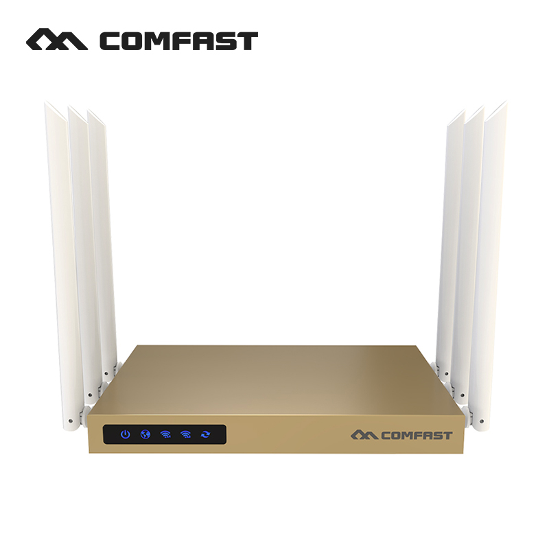 COMFAST 750mbps dual band router 2.4ghz + 5.8ghz wifi access point high power antenna 600 square meters coverage wireless router comfast 750mbps 802 11ac dual band wireless router with 6 6dbi antenna wifi 128mb ddr high power wifi router wi fi wide coverage
