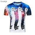 2017 Новые поступления бренд clothing хип-хоп funny cat печати 3D мужская футболка прекрасный мультфильм рубашка удобная мужская топ тройник