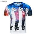 2017 chegadas Novas roupas de marca hip hop engraçado da cópia do gato 3D camisa dos homens t encantador dos desenhos animados camisa confortável mens top tee