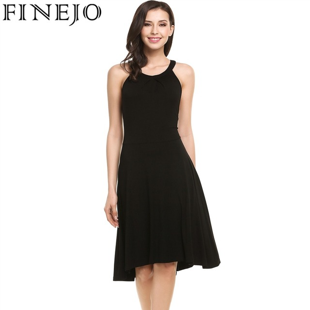 5d3b790af1 FINEJO Dress Summer Casual O-Neck Sleeveless Solid Button Zipper Pleated  Women Tank Top Sexy Lange Tiefem For Party
