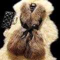 Mulheres moda faux Raccoon fur vest brasão completa pelt magro reunindo casacos manteau fourrure femme 2017 novo estilo sem mangas das senhoras preto