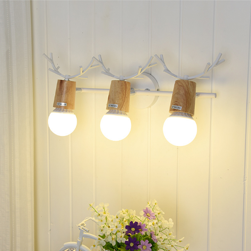 Creative personality antlers led Wall lamp Living room bedroom wall light Bathroom mirror lamp chiffonier Mirror led wall sconce modern brief creative wave shape waterproof acryl led mirror light for bathroom living room wall lamp 41 50cm 1386