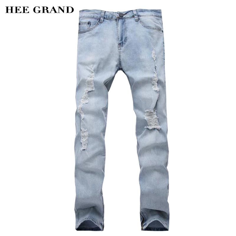 HEE GRAND Men Jeans 2017 New Arrival Hole Decoration Zipper Cuff Design Straight Demin Trousers Size 28-35 MKN1002 hee grand 2017 spring summer men jeans full length business style slim fitted straight denim trousers plus size 29 40 mkn960